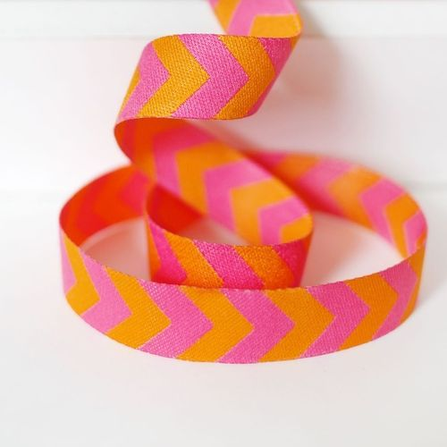 Webband Farbenmix Chevron Pink-Orange