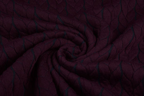 Sweat Zopfstrickoptik Bordeaux-Schwarz