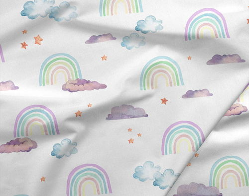 Sommersweat French Terry Rainbow Lila Wolken